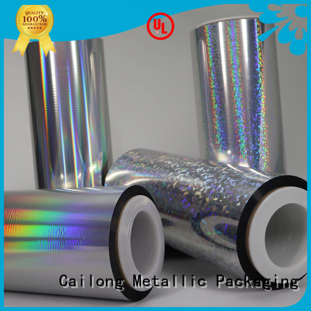 Cailong stable holographic plastic at discount for soft packaging