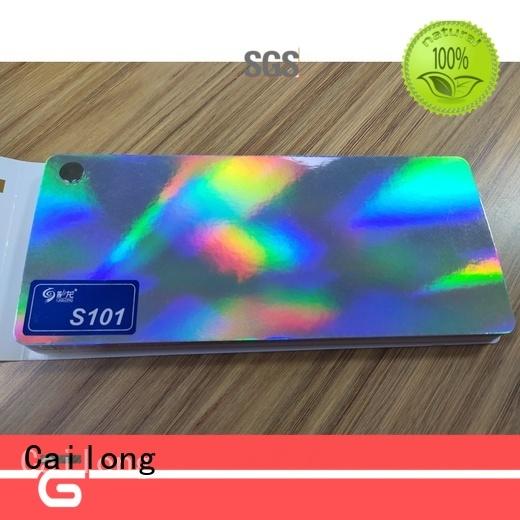 Cailong transparent holographic film free design for alcohol